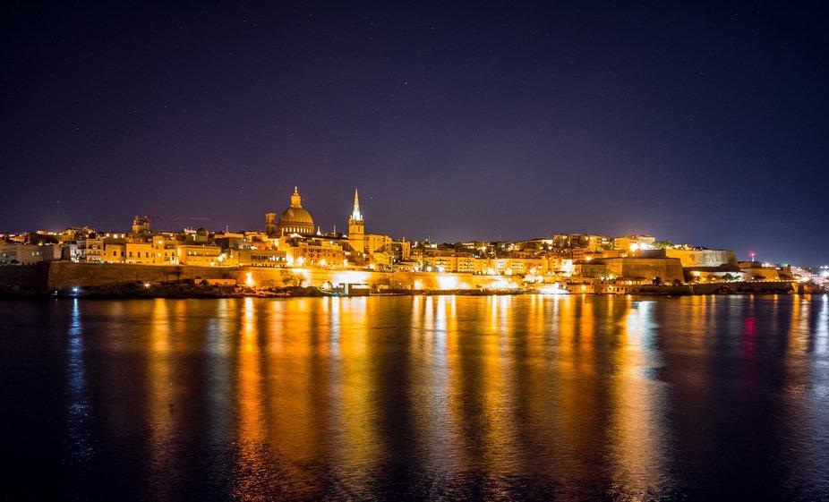 Valletta nightlights reflections