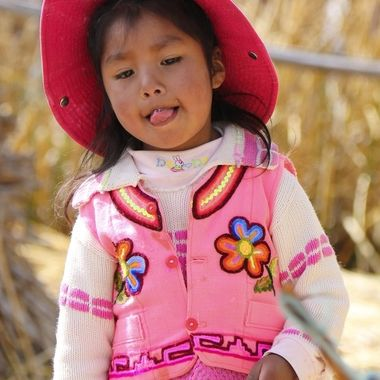 Uros girl, Lake Titiqaqa, Peru