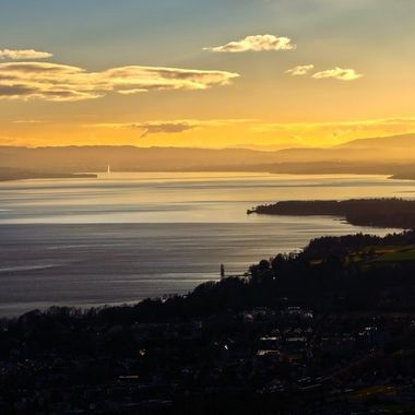 Sunset over Geneva and the Jet d'Eau on Christmas Day.