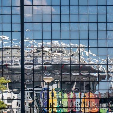 Reflections of the Johan Cruyff Arena, Amsterdam, Holland