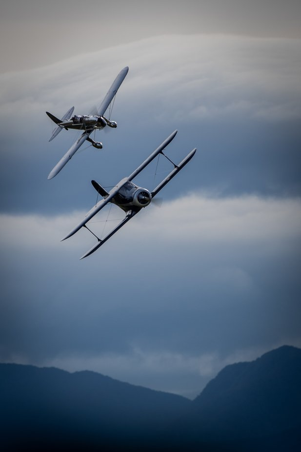 Recreating the first Women's Air Race of 1929, Cam and Tracey Hawley's Beech Staggerwing leads Noel Kruse's Ryan STM at Omaka's Classic Fighters Airshow 2019.