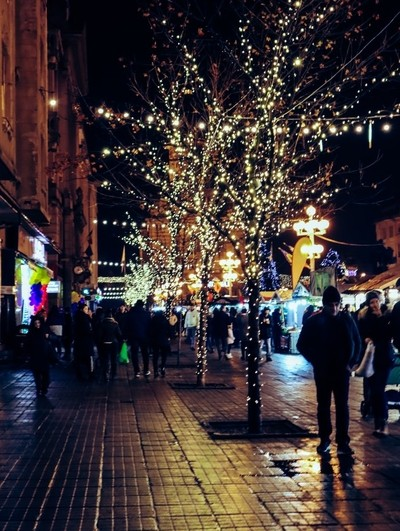 City in the night before christmas