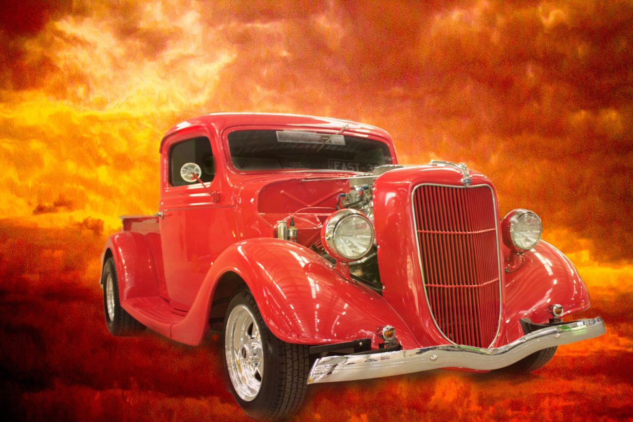 A nice 1936 Ford pick up,slightly modified.