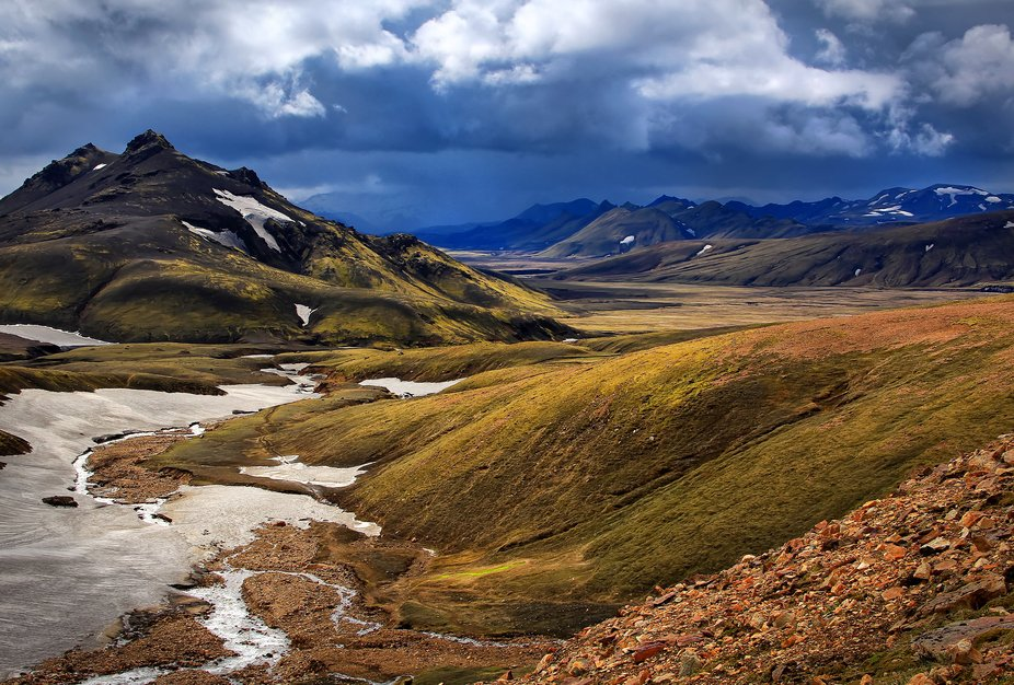"""Iceland trek Landmannalaggar to Porsmork. Four/five days carrying all food, sleeping bag, etc, but not tent (total ~16 kg). One has to ford 4 streams, so you need """"crocks"""" and walking poles."""