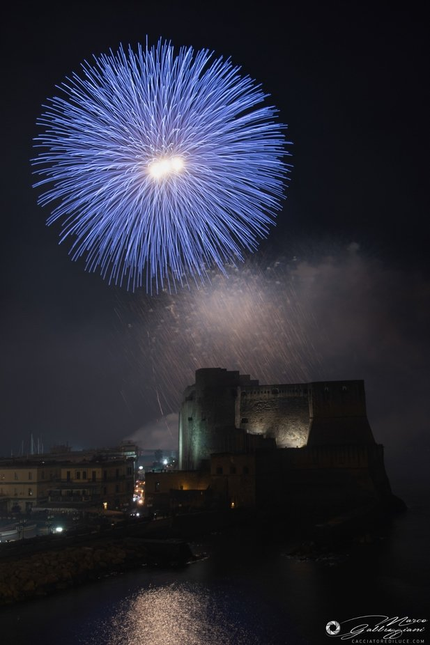 The fires on the sea at Castel Dell'Ovo