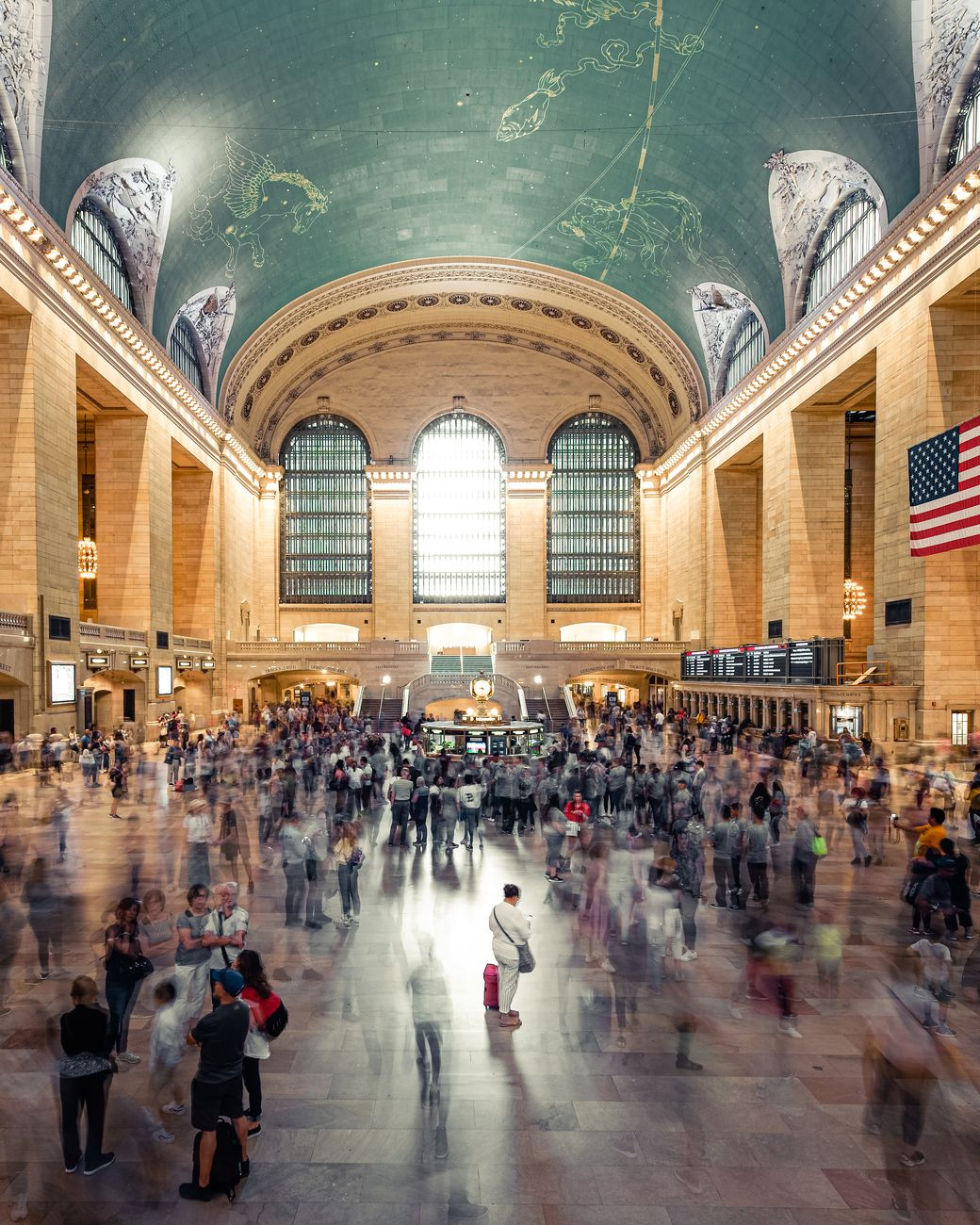 View into the main hall of the Grand Central Station in New York-multiexposure picture