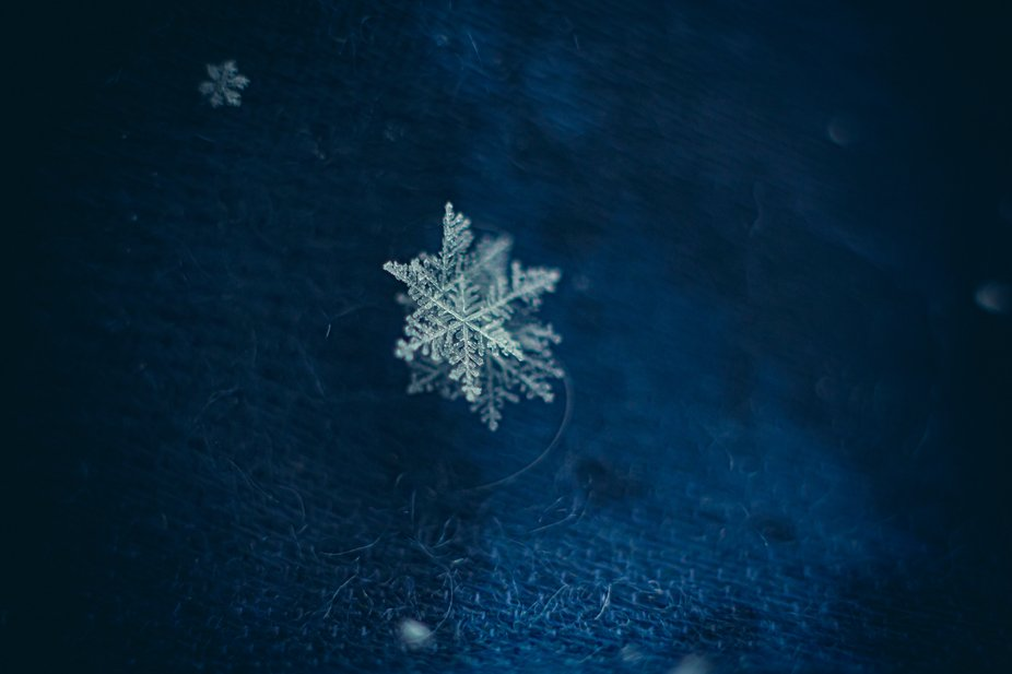 Snowflake on a blue scarf