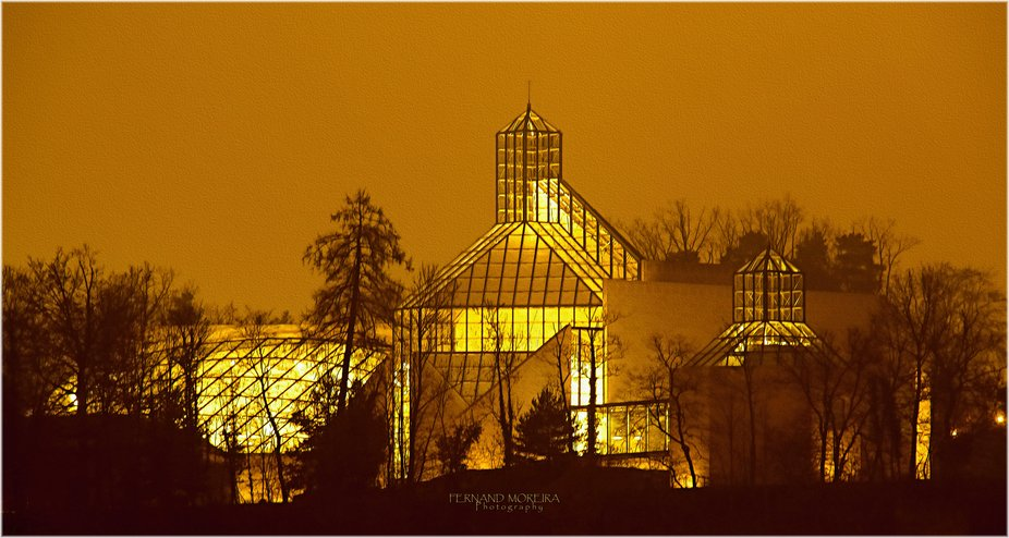Mudam Luxembourg Museum at Kirchberg (L) by night  01-2020  FinaArt photo / drawing
