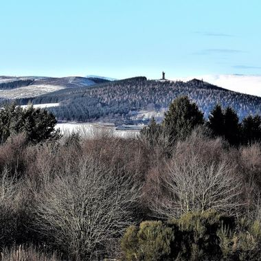 Winter in Angus viewing the landscape showing the Airlie Monument in the distant hills