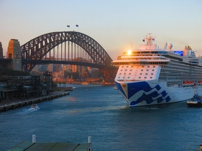 Cruise Ship departing Sydney Harbor, late afternoon.