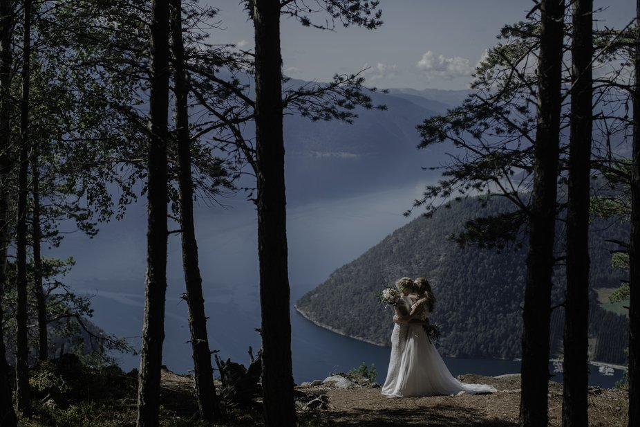 Silje and Mari got married by Norway's deepest and longest fjord.