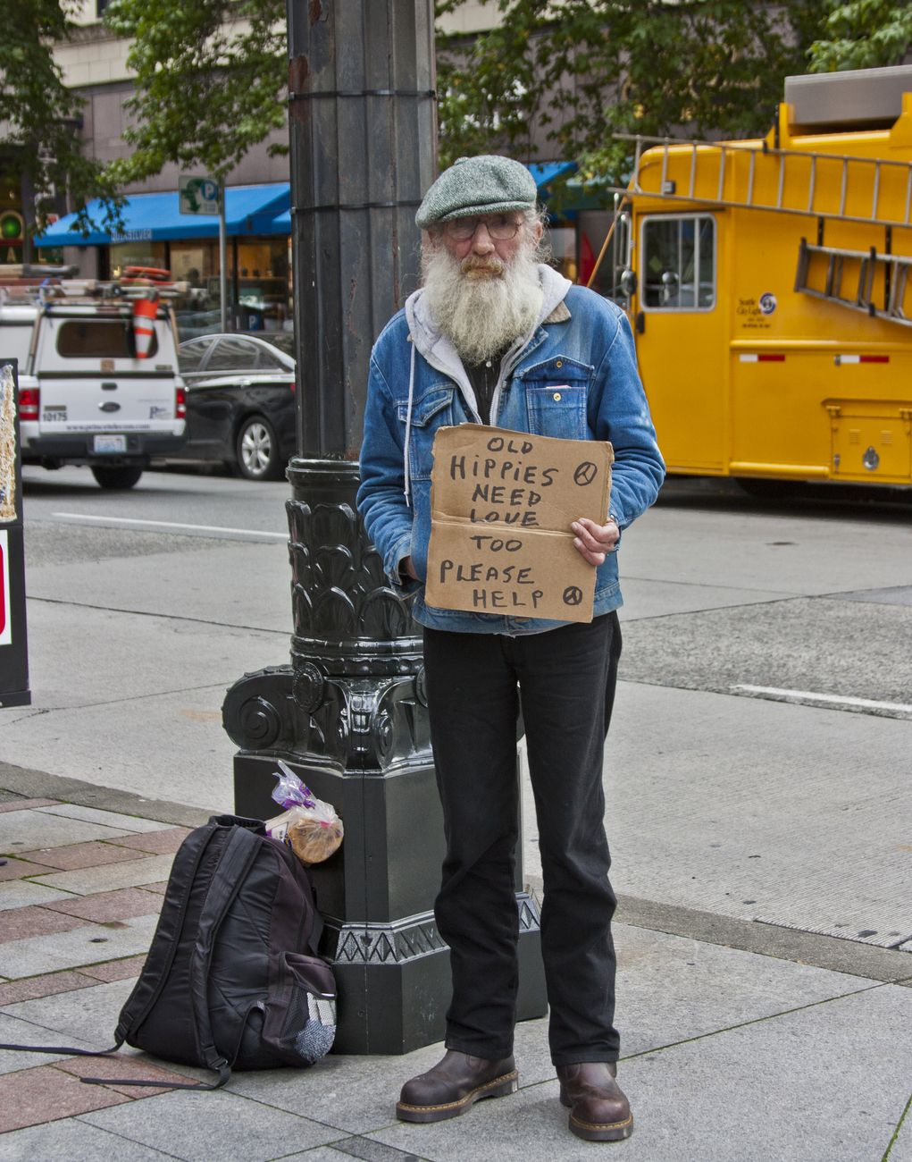 Old Hippy - street resident of Seattle