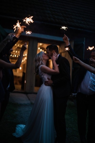 Party kiss on wedding day