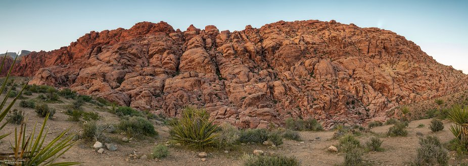 A four image panoramic stitch of Red Rock Canyon outside of Las Vegas, Nevada at sunset.