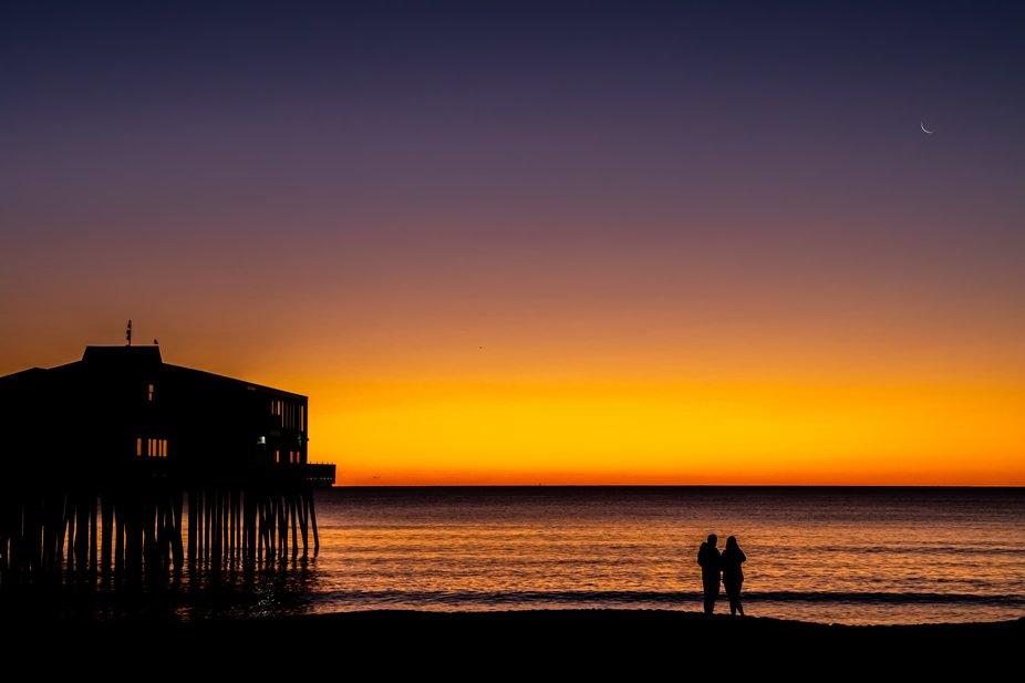 Orange sunrise at the pier