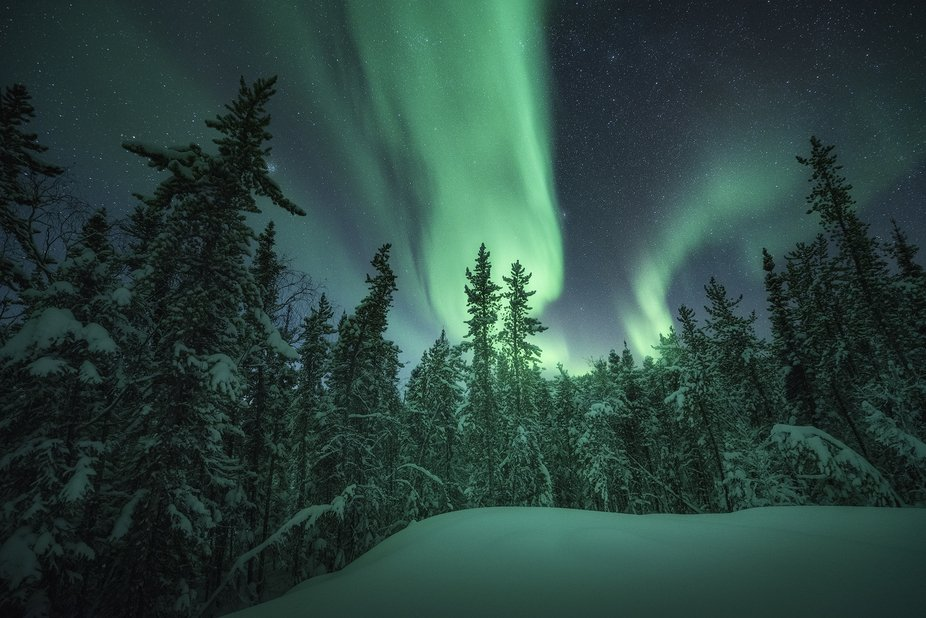 The coldest conditions I've ever hiked in with -50c windchill. But the Aurora was insane...