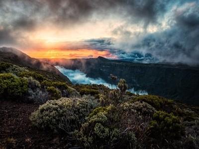 Volcano road sunset