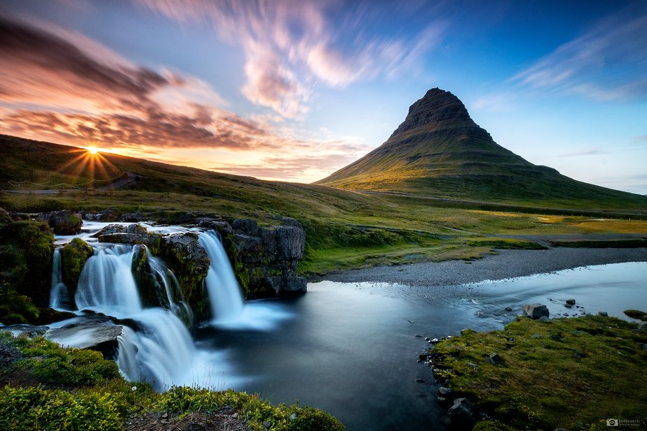Midnight sun is setting at the iconic Kirkjufell in Iceland. © Nejc Trpin / Trips4photos.com