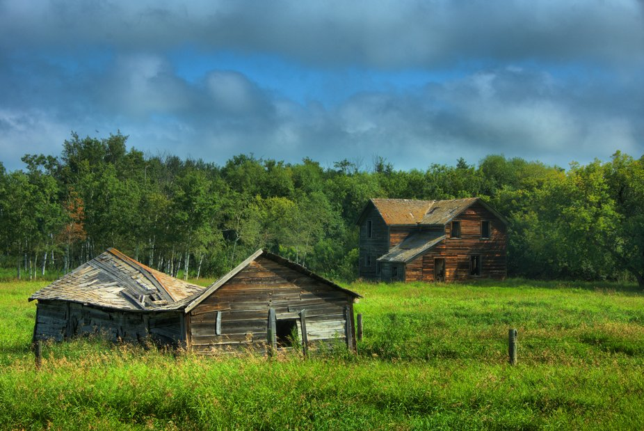 There are a number of old homesteads across Alberta. This one is located on the Yellowhead Highwa...
