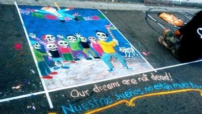 Dia De Los Muertos Festival 2017Anti-Build the wall Graffiti