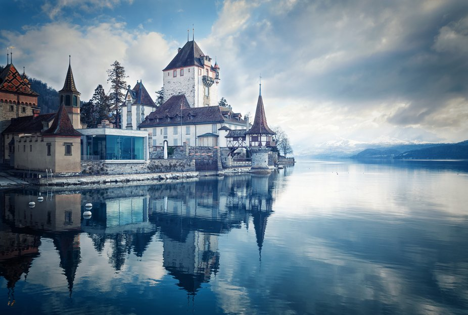 UK: The romantic castle of Oberhofen (built in 1200) on Lake Thun (bought and converted in 1844 b...