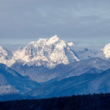 The Olympic mountains, Mt. Constance showing her beauty this morning. She sure is pretty with all of the fresh fallen snow. Hood Canal, Washington, USA