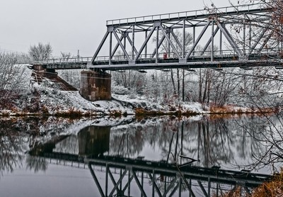 morning, bridge, river