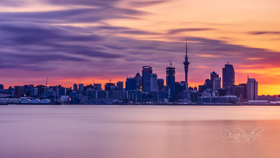 Long exposure sunset shot of downtown Auckland