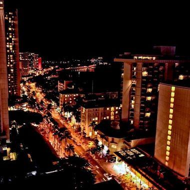 Night Capture - Waikiki, Hawaii