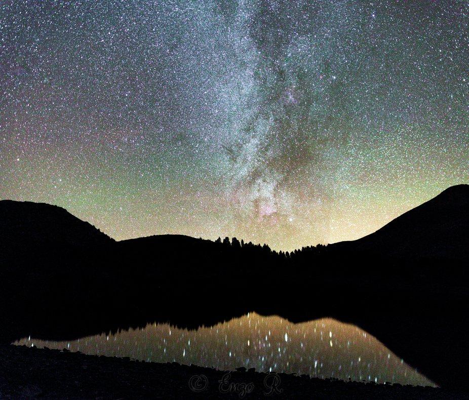 Milkyway  colore, sur le Lac d'Allos, 21 Octobre 2018