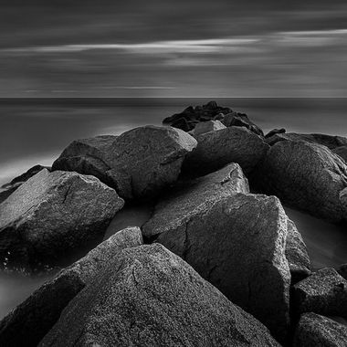 Long exposure of the rocks at Fort Macon State Park in North Carolina