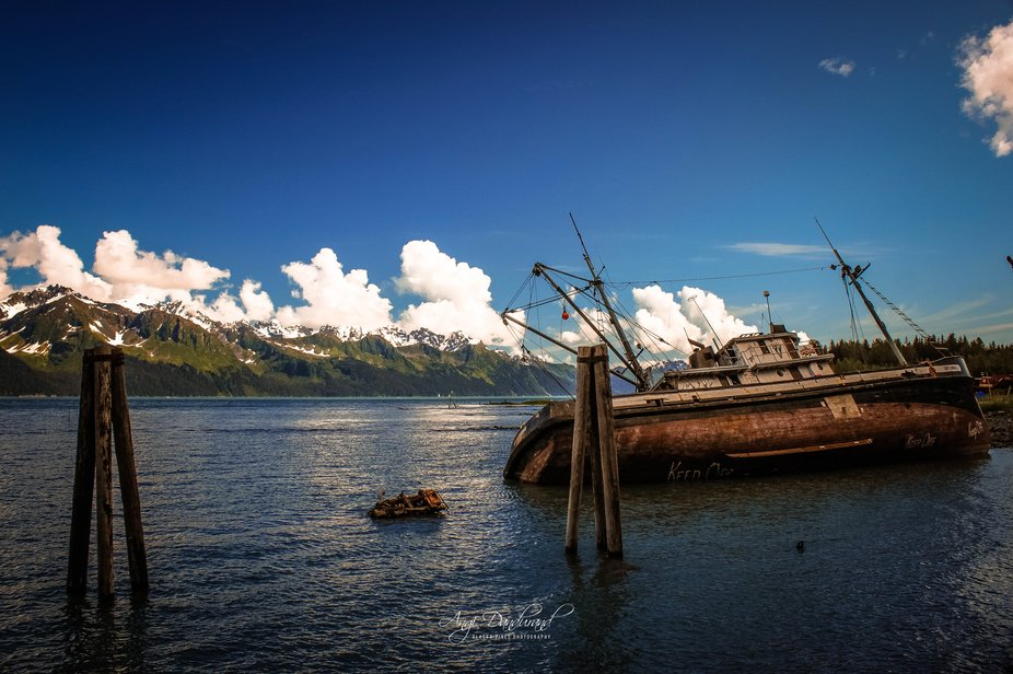 An aging fishing vessel is losing the battle against the tides in Seward, Alaska.