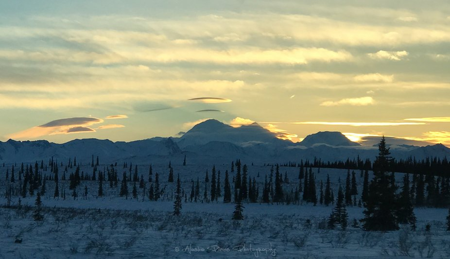 The beginnings of a sunset on Denali, formerly Mt. McKinley, the tallest peak in North America.