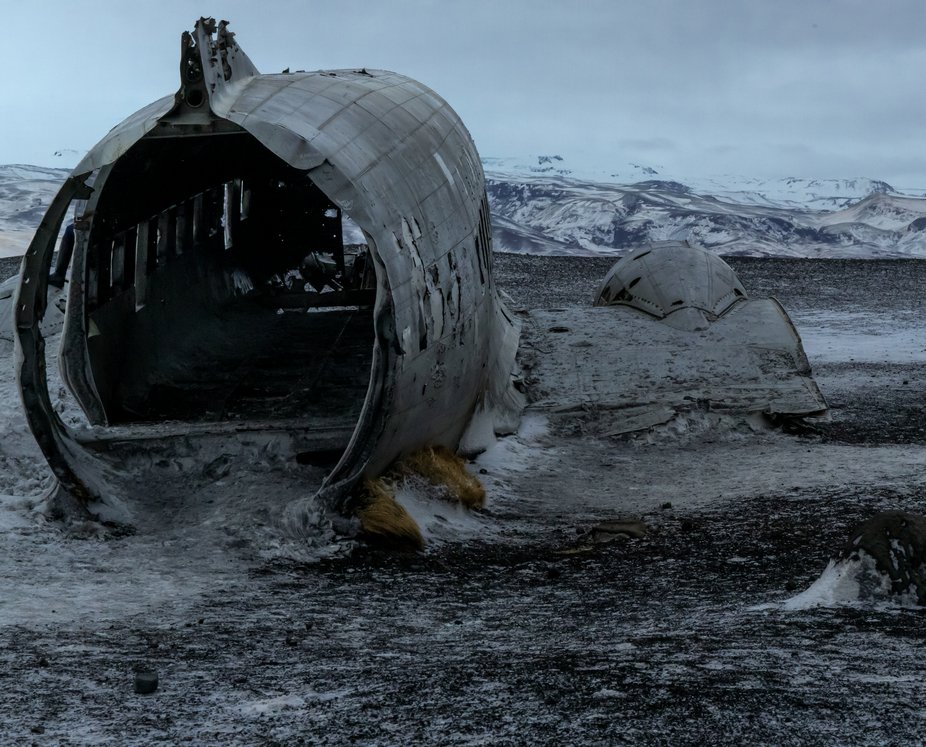 Solheimasandur, Iceland. Dc-3 plane crash of 1973. In a remote tundra with beautiful and harsh su...