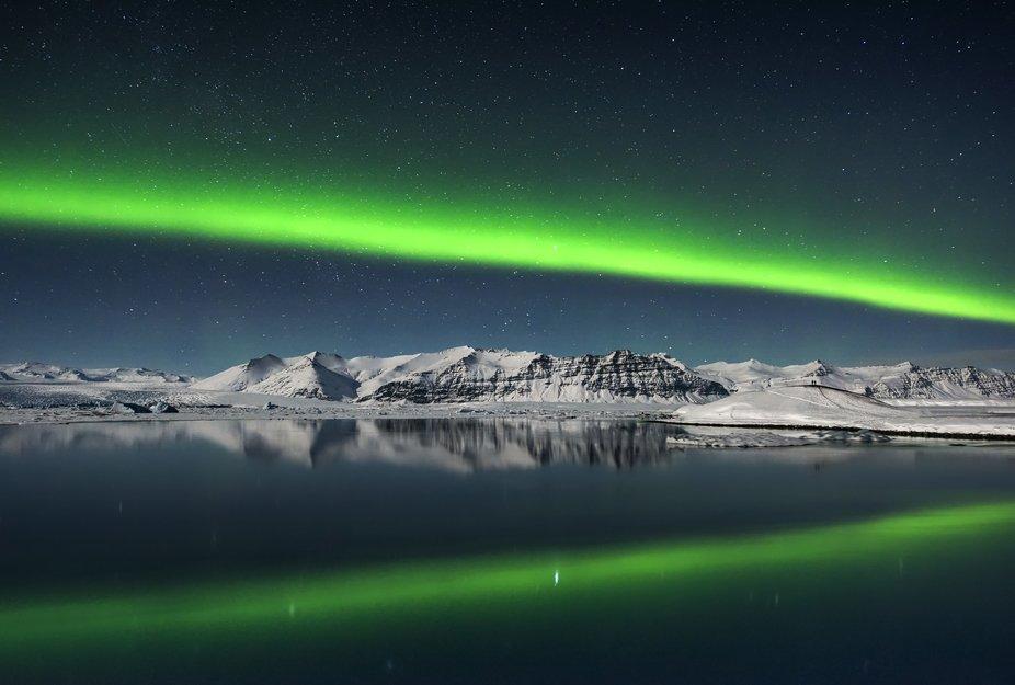 Northern lights over Jokulsarlon lagoon, Iceland.