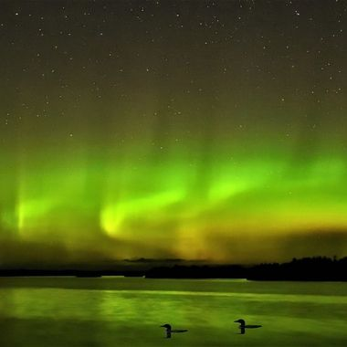 Northern lights over Rainy Lake