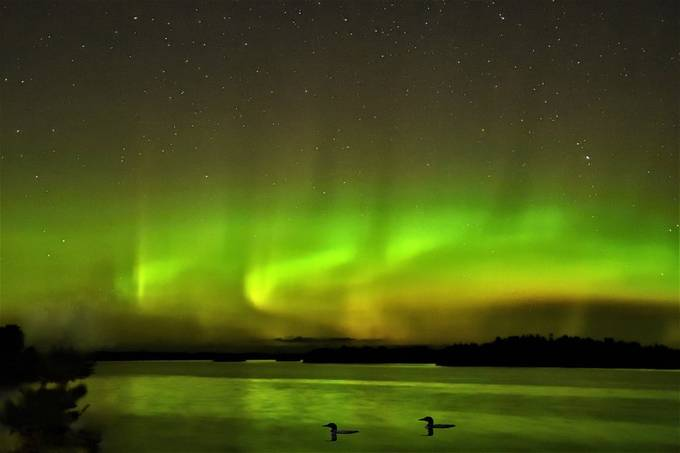 Northern lights over Rainy Lake