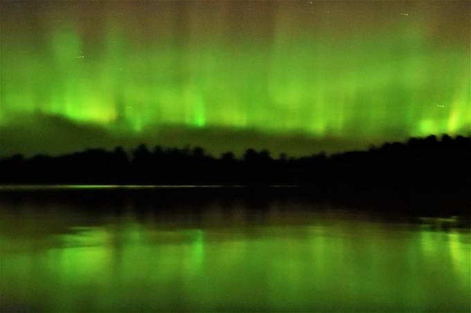 Northern Lights taken from the water on Rainy Lake by the Urn.