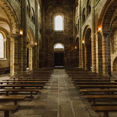 This is part of the naive of the Abbey Church on Le Mont Saint-Michel in Normandy / France