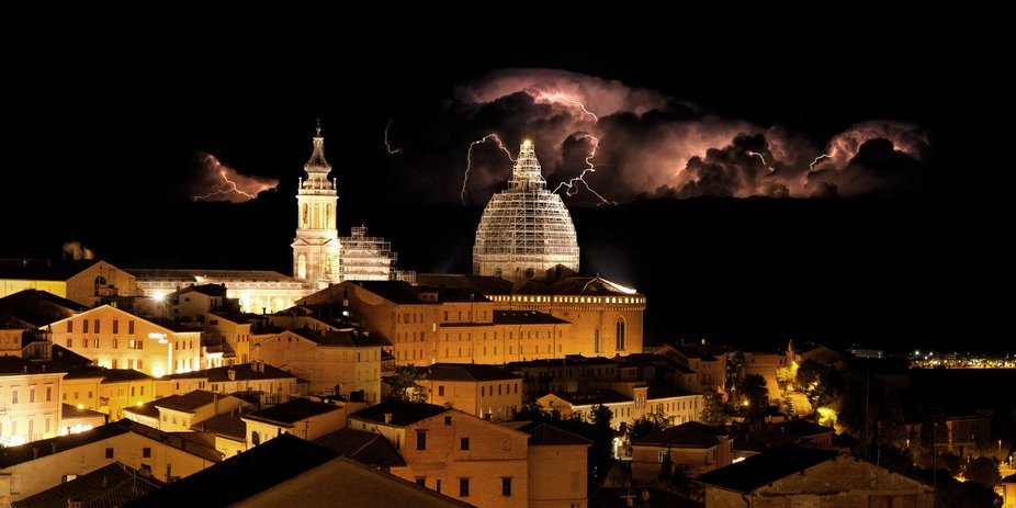 Distant lightning storm on the Adriatic from Loreto, Italy