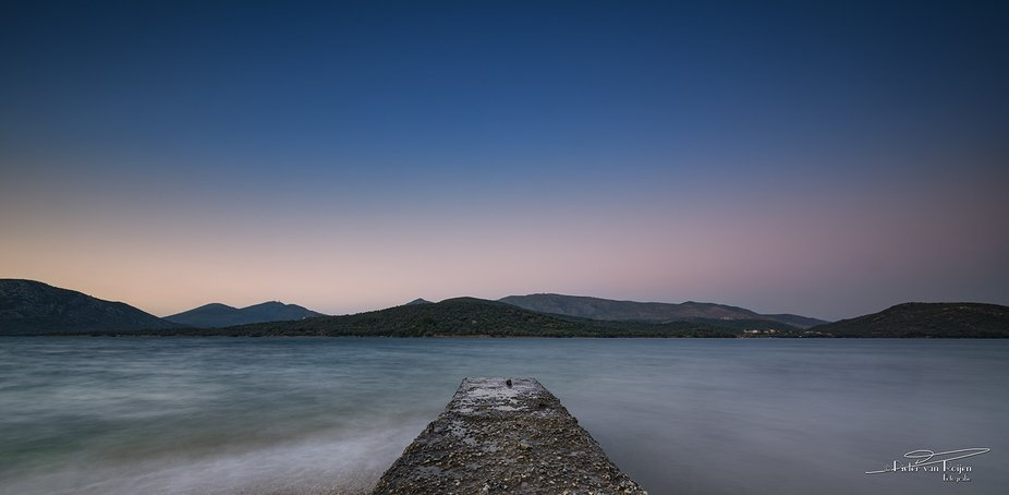 Long exposure with sunset over Geras bay, one of the two bays of the island of Lesbos, Greece. ...
