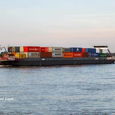 Container barge on its way to the Port of Rotterdam