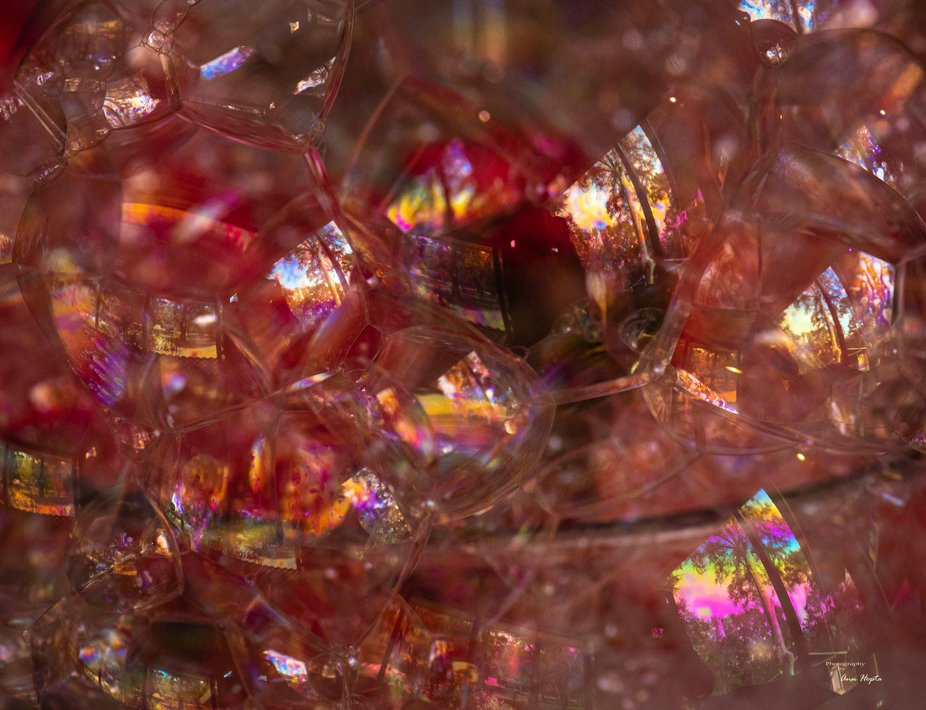 Soap bubbles with colorful reflections