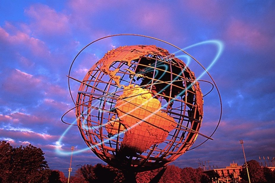 The Unisphere was constructed for the 1964 Worlds Fair in Flushing Meadow, Queens.  It is made co...