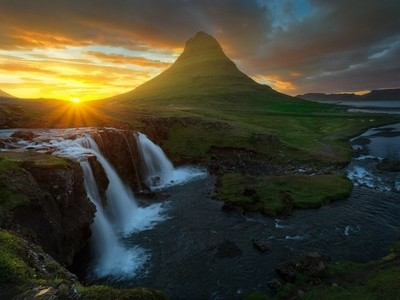 Midnight Sunset at Kirkjufellsfoss