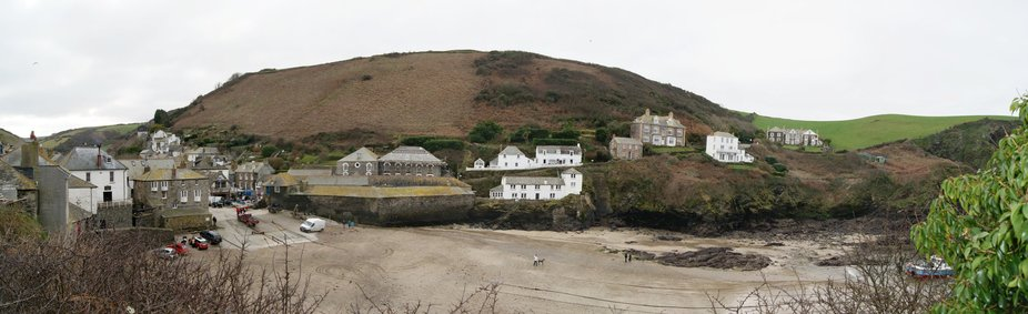 Panoramic Shot of Port Isaac showing the foreshore and slipway
