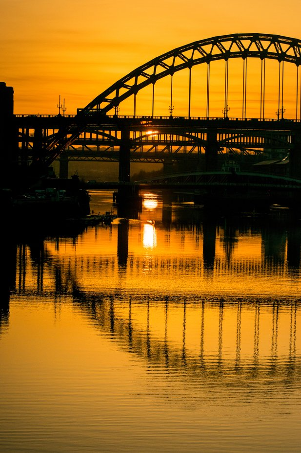 Tyne Bridges at sunset , taken from the Millenium Bridge.