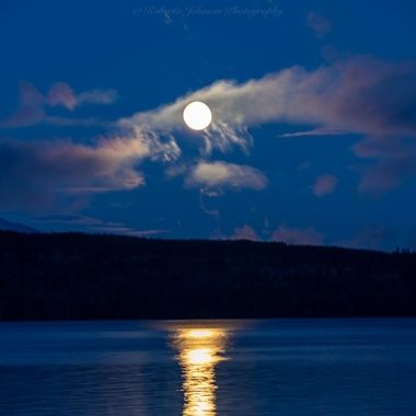 The snow moon setting with the Olympic Mountains. Hood Canal, Washington, USA