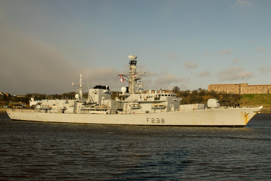 "Frigate 238 "" HMS Northumberland"" Leaving the river Tyne after visiting her County home port."