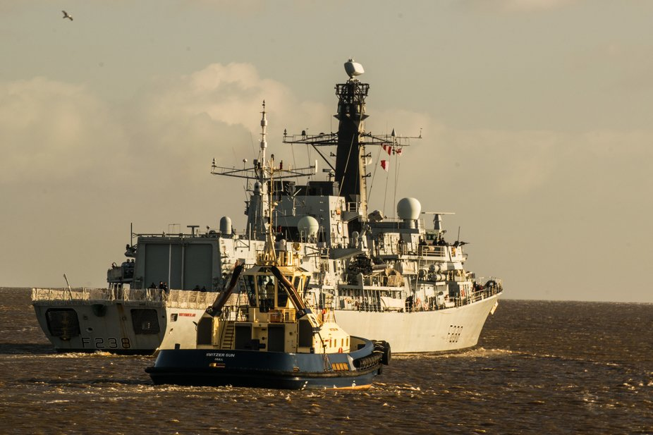 HMS Northumberland heading into the north sea, leaving the river Tyne